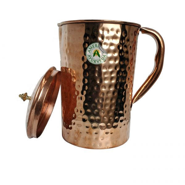 Hammered Copper Water Pitcher Jug Vessel Container with Lid by American Ayurveda